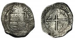 531  -  FELIPE II. 8 reales. 1598. Valladolid. tipo OMNIVM. AC-768. AR 25,11 g. Erosiones marinas y vanos. MBC. Rara.