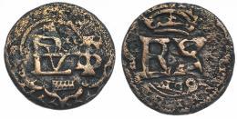 538  -  FELIPE IV. 2 maravedís. (165)8. Segovia. Doble acuñación en rev. sobre un anv. JS-tipo K-24. Muy interesante. Erosiones. MBC-.