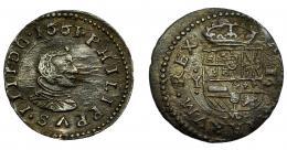 544  -  FELIPE IV. 16 maravedís. 1661. Madrid. Y. AC-467. Rev. descentrado. MBC.