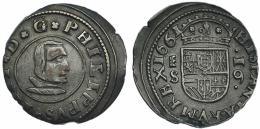 545  -  FELIPE IV. 16 maravedís. 1661. Segovia. S. JS-M 507. RS-489. Algo descentrada. MBC+.
