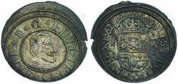 548  -  FELIPE IV. 16 maravedís. 1662. Segovia. BR. JS-519. RS-495. Algo descentrada. EBC-.