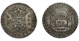 575  -  FERNANDO VI. 4 reales. 1757. Lima. JM. VI-283. Pequeñas marcas. MBC/MBC+.