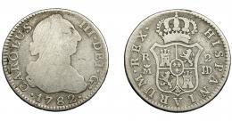 584  -  CARLOS III. 2 reales. 1782. Madrid. JD. AC-632. BC/BC+.