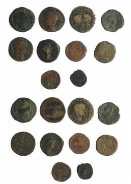 6  -  HISPANIA ANTIGUA. Lote de 10 monedas: Caesaraugusta (1), Clunia (2), Kili (1), acuñaciones de Publio Carisio (1), Tamaniu (1), Tarraco (3), Turiasu (1). RC/BC.