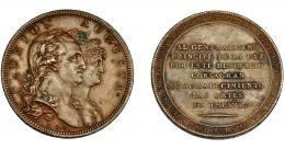 603  -  CARLOS IV. Medalla. 1804. Al príncipe de la paz. En el canto ACUÑA SUPERFICIE Y CANTO A UN SOLO GOLPE. Firma M.G.S (Sepúlveda). AE 40 mm. 26,24 g. MPN-311. Concreciones. EBC-.