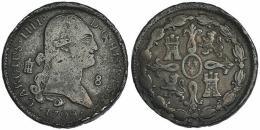 606  -  CARLOS IV. 8 maravedís. 1799. Segovia. VI-72. Golpes en canto. BC+.