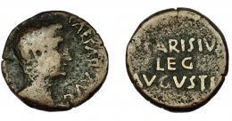 61  -  HISPANIA ANTIGUA. EMERITA. As de Publio Carisio. A/ Cabeza de Augusto a der. R/ (P) CARISIVS / LEG /AVGVSTI. AE 8,96 g. 24,1 mm. RIC-14. I-984. ACIP-4436b. BC/BC+.