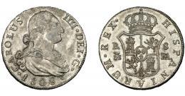 614  -  CARLOS IV. 8 reales. 1808. Madrid. FA. VI-780. Pátina irregular. EBC-. Escasa.