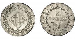 629  -  JOSÉ I NAPOLEÓN. 5 pesetas. 1813. Barcelona. VI-39. MBC+. Muy escasa.