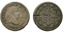 637  -  FERNANDO VII. 4 maravedís. 1814. Jubia. VI-166. Raya en anv. BC.