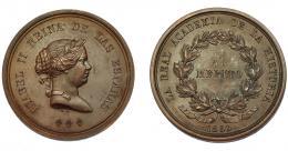 675  -  ISABEL II. Medalla. Real Academia de la Historia, al mérito. 1860. Grabador L.M. (Marchionni). AE 45 mm. EBC-.
