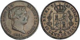 689  -  ISABEL II. 10 céntimos de real. 1864. Segovia. VI-141. MBC+. Escasa.