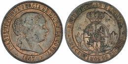 691  -  ISABEL II. 2 1/2 céntimos de escudo. 1867. Segovia. OM. VI-192. Leves oxidaciones. R.B.O. EBC-.