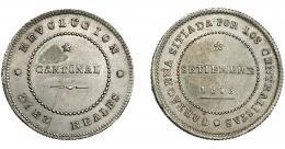 712  -  REVOLUCIÓN CANTONAL. 10 reales. 1873.Cartagena. VII-28. Rebaba por rotura de cuño en rev. EBC.
