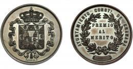 716  -  ALFONSO XII. Medalla. Ayuntamiento de Granada. Premio al mérito. Grabador Barrere. AE 36,5 mm. EBC.