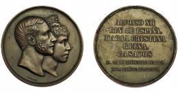 718  -  ALFONSO XII. Medalla. Boda real. 1879. Grabador G. Sellán. AE 71 mm. MPN-863. Pequeñas marcas. MBC+.