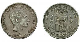 720  -  ALFONSO XII. 10 céntimos. 1878. Barcelona.OM. VII-46. MBC+.