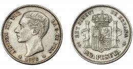 722  -  ALFONSO XII. 1 peseta. 1876 *18-76. Madrid. DEM. VII-57. Rayitas en anv. EBC-/EBC.