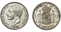 726  -  ALFONSO XII. 5 pesetas. 1882* 18-82. Madrid. MSM. VII-88. Golpecitos en canto. SC.