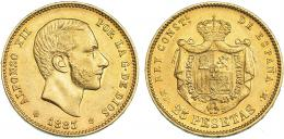 764  -  ALFONSO XII. 25 pesetas. 1883* 18-83. Madrid. MSM. VII-112. R.B.O. MBC+.
