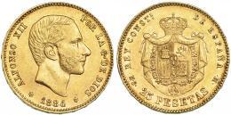 765  -  ALFONSO XII. 25 pesetas. 1884* 18-84. Madrid. MSM. VII-113. MBC+/EBC-.