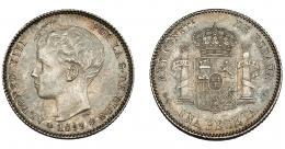 774  -  ALFONSO XIII. Peseta. 1899*18-99. Madrid. SGV. VII-155. EBC-.