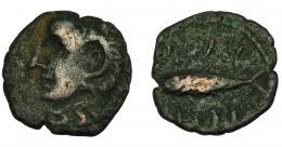 81  -  HISPANIA ANTIGUA. GADIR. Semis o cuarto. A/ Cabeza de Melkart con leonté a izq. R/ Atún a izq.; mpl/´gdr. AE 1,69 g. 15,5 mm. I-1346- ACIP-692. BC/BC+.