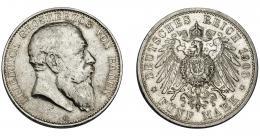 817  -  MONEDAS EXTRANJERAS. ALEMANIA Y ESTADOS ALEMANES. Baden. Federico I. 5 marcos. 1903. KM-274. Marquitas. MBC/MBC+.