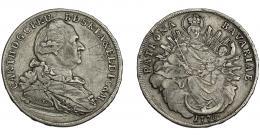 818  -  MONEDAS EXTRANJERAS. ALEMANIA Y ESTADOS ALEMANES. Baviera. Carlos Teodoro. Tálero. 1778. DAV- 1964. KM-259. Grafito en anv. y rayas. BC+/MBC-.