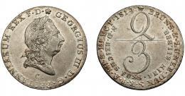 822  -  MONEDAS EXTRANJERAS. ALEMANIA Y ESTADOS ALEMANES. Hannover. 2/3 tálero. 1814. C. KM-100.1 EBC/EBC+.