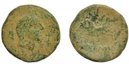 83  -  HISPANIA ANTIGUA. IKALESKEN. As. A/ Cabeza masculina a der.; detrás timón, delante caduceo. R/ Jinete con rodela y lanza a izq.; debajo IKaLKuNSKeN. AE 15,46 g. 31,1 mm. I-1417. ACIP-2092. Pátina verde claro rugosa. BC+. Rara.