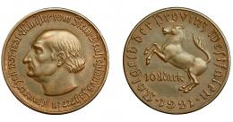 839  -  MONEDAS EXTRANJERAS. ALEMANIA Y ESTADOS ALEMANES. Westfalia. 10 marcos. 1921. EBC.