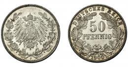 841  -  MONEDAS EXTRANJERAS. ALEMANIA Y ESTADOS ALEMANES. 50 Pfennig. 1900 J. KM-15. B.O. SC. Escasa.