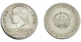 846  -  MONEDAS EXTRANJERAS. ALEMANIA Y ESTADOS ALEMANES. República de Weimar. 5 marcos. 1929 A. KM-61. Rayita en anv. EBC.