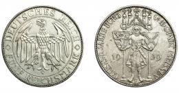 848  -  MONEDAS EXTRANJERAS. ALEMANIA Y ESTADOS ALEMANES. República de Weimar. 5 marcos. 1929 E. KM-66. MBC+.