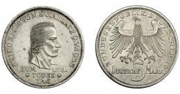 851  -  MONEDAS EXTRANJERAS. ALEMANIA Y ESTADOS ALEMANES. 5 marcos. 1955-F. KM-114. EBC+.