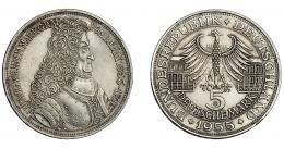 852  -  MONEDAS EXTRANJERAS. ALEMANIA Y ESTADOS ALEMANES. 5 marcos. 1955-G. KM-115. EBC-.