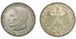 853  -  MONEDAS EXTRANJERAS. ALEMANIA Y ESTADOS ALEMANES. 5 marcos. 1957. KM-117. EBC-. Muy escasa.