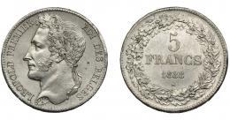 860  -  MONEDAS EXTRANJERAS. BÉLGICA. 5 francos. 1833. KM-3.1. EBC. Escasa.