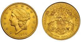 896  -  MONEDAS EXTRANJERAS. ESTADOS UNIDOS DE AMÉRICA. 20 dólares. 1904. KM-74.3. Rayitas en anv. EBC.