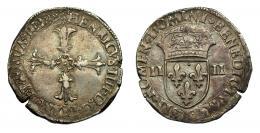 909  -  MONEDAS EXTRANJERAS. FRANCIA. Enrique IV. 1/4 de escudo. K. Fecha no visible por repinte. Cospel abierto. MBC.