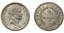 914  -  MONEDAS EXTRANJERAS. FRANCIA. 2 francos. 1814. A. Gadoury-501. MBC+.