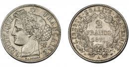 918  -  MONEDAS EXTRANJERAS. FRANCIA. 2 francos. 1871 A. KM-822.1. EBC-.