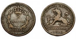 926  -  MONEDAS EXTRANJERAS. GIBRALTAR. 2 quartos. 1813. AE 28 mm. KM-Tu6. BC+.