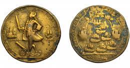 928  -  MONEDAS EXTRANJERAS. GRAN BRETAÑA. Medalla Vernon. Toma de Portobello. 1739. HAVANA en anv. AE 37 mm- Oxidaciones. BC+/BC.