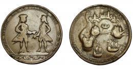 929  -  MONEDAS EXTRANJERAS. GRAN BRETAÑA. Medalla Vernon. Toma de Cartagena. 1741. AE 36,5 mm. Golpe en gráfila. BC+.