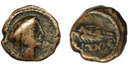93  -  HISPANIA ANTIGUA. ILIPA. Cuadrante. A/ Cabeza femenina con tocado a der. R/ Espiga a der., debajo ILIPENSE. AE 18 mm. 5,41 g. I-1543. ACIP-2342. BC/BC+. Rara.