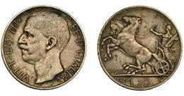 943  -  MONEDAS EXTRANJERAS. ITALIA Y ESTADOS ITALIANOS. 10 liras. 1929. R. KM-68.1. Pequeñas marcas. MBC.