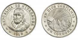 959  -  MONEDAS EXTRANJERAS. NICARAGUA. 1 córdoba. 1912. h. KM-16. MBC+/EBC-.