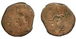 98  -  HISPANIA ANTIGUA. IRIPPO. As. A/ Cabeza de Octavio a izq. delante IRIPPO. R/ Deidad femenina sentada a izq. con piña y cornucopia. AE 6,08 g. 23,7 mm. RPC-56. APRH-56a. I-1582. ACIP-2628. BC+.